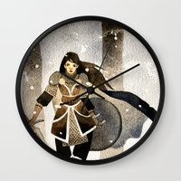 warrior Wall Clocks featuring Warrior by Pauliina Hannuniemi