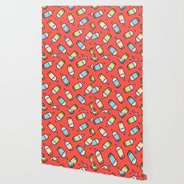 Bubble Tea Pattern in Red Wallpaper