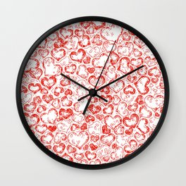 Vivid Hearts, red Wall Clock