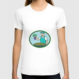 Farm Boy Holding Grapes Bowl Raisins Oval Retro T-shirt