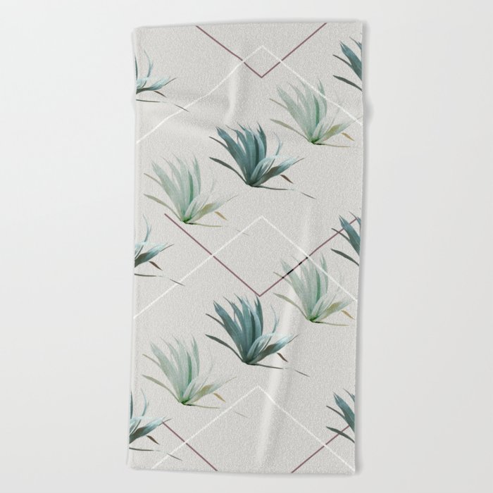 Succulents with Chevrons Beach Towel