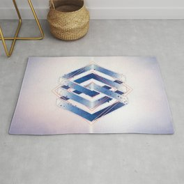 Indigo Hexagon :: Floating Geometry Rug