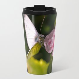 White butterfly on a plant in nature Travel Mug