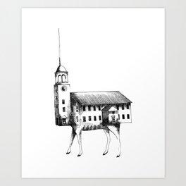 Iglesia con patas / Church with legs Art Print