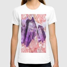 PURPLE AMETHYST & PINK CRYSTALS DESIGN T-shirt