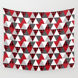 Quilt pattern buffalo check pattern red black and white with grey minimal camping Wall Tapestry