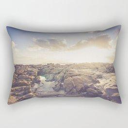 Golden hour, rocky beach landscape Rectangular Pillow