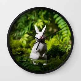 White Bunny in the forest Wall Clock