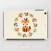 lindsay lohan iPad Cases featuring LITTLE FOX WITH AUTUMN BERRIES by Daisy Beatrice
