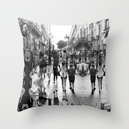 Summer space, smelting selves, simmer shimmers. 16, grayscale version Throw Pillow