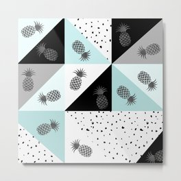 Teal black white dots pineapple geometrical color block Metal Print