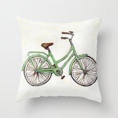 Bicycle / Green Cruiser Throw Pillow