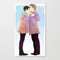 klaine Canvas Prints featuring klaine winter by suitfer