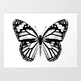 Monarch Butterfly | Vintage Butterfly | Black and White | Art Print