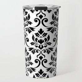 Feuille Damask Pattern Black on White Travel Mug