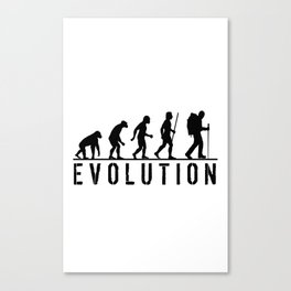 The Evolution Of Man And Hiking Canvas Print