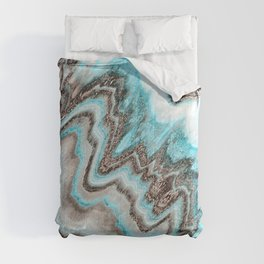 Blue and Black Geode Agitate Comforters