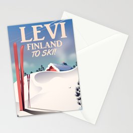 Levi, Finland ski vintage style travel poster. Stationery Cards