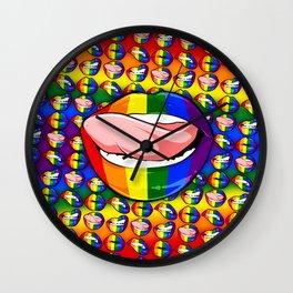 LGBTQ Rainbow Lips Licker Wall Clock