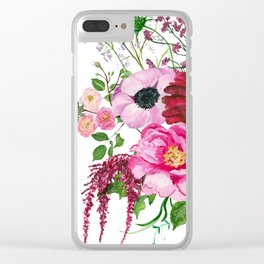 Burgundy bouquet Clear iPhone Case