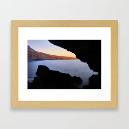 Del Medio Cave. Sunset at the beach. La Gomera Framed Art Print