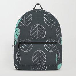 Mint & Silver Leaves Pattern & Slate Backpack