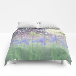 luna moths around the moon with starlit irises Comforters