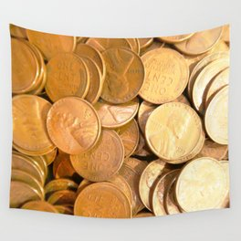 Watercolor Coins, Lincoln Wheat Pennies, 1955 03 Wall Tapestry