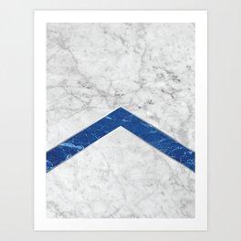 Stone Arrow Pattern - White & Blue Marble #184 Art Print