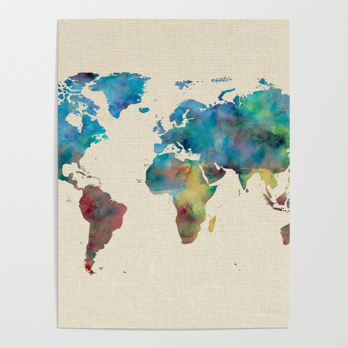 World map watercolor linen blue red yellow green poster by world map watercolor linen blue red yellow green poster gumiabroncs Choice Image