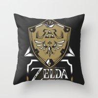 zelda Throw Pillows featuring Zelda v89 by Victor Berbel
