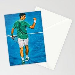 Novak Djokovic at Australian Open 2021. Come on gesture. Digital artwork print. Tennis fan art gift. Stationery Cards