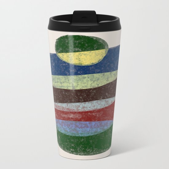 Stay On Top - Abstract, textured, pastel layers Metal Travel Mug