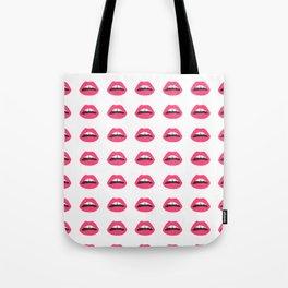 Lips, Mouth, Pink, Pop art, Funny, Art, Pattern, Modern art Tote Bag