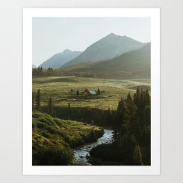 Secluded cabin on the bend in Crested Butte Art Print