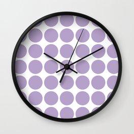 Lavender Mod Polka Dots Pattern Wall Clock