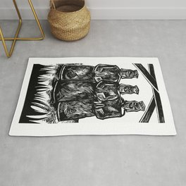 Raw Photography of Three Wise Men Engraved in Black Ink Rug