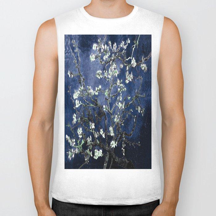 Vincent Van Gogh Almond Blossoms Dark Blue Biker Tank