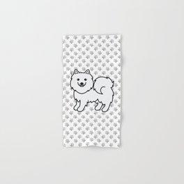 Cute White Samoyed Dog Cartoon Illustration Hand & Bath Towel