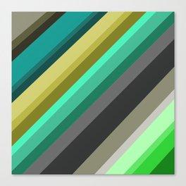 green brown yellow grey stripes Canvas Print