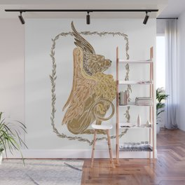 Mythical griffon in a floral wreath Wall Mural