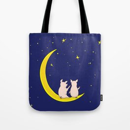 happy pair of pigs in love on the moon Tote Bag