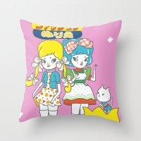 anime Throw Pillows featuring Retro Anime by Mel Stringer