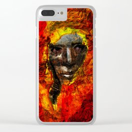 Face in the fire Clear iPhone Case