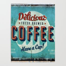 Vintage Style Coffee Sign Poster