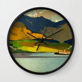 Loch Awe Vintage Mid Century Art Travel Poster British Railways Colorful Landscape Wall Clock