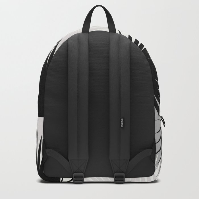 Black and White Tropical Leaves Backpack