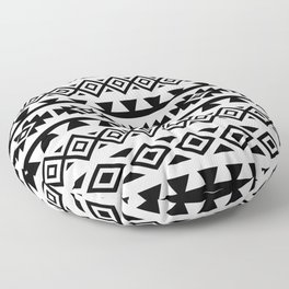 Aztec Stylized Shapes Pattern BW Floor Pillow