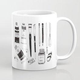 Hand drawn art tools. B&W #1 Coffee Mug