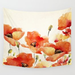 Poppy Flower Meadow- Floral Summer lllustration Wall Tapestry
